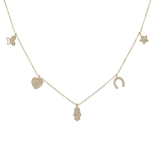 See No Evil Charm Necklace White