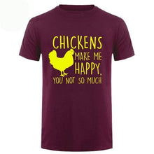 Chickens Make Me Happy T Shirt - Maroon Yellow / Small
