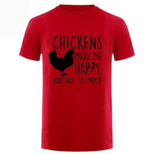 Chickens Make Me Happy T Shirt - Red Black / Small