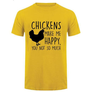 Chickens Make Me Happy T Shirt - Yellow Black / Small