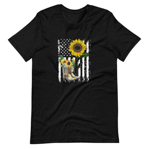 Boots, Flag and Sunflower Tee Shirt (6149678530715)