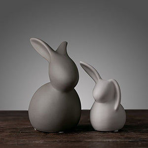 Glacier Ceramic Rabbit Figurines (Set of 2) from ObJae