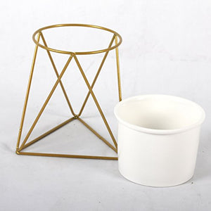 Ceramic Planter with Geometric Iron Pedestal from ObJae