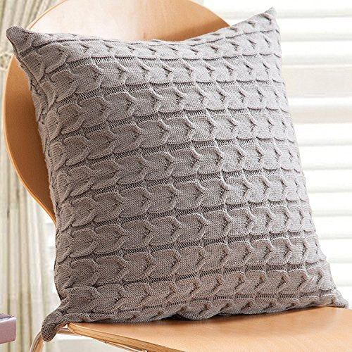 Knitted Throw Pillow Cover - Gray from ObJae
