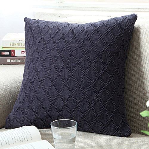 Diamond Grid Pillow Cover - Black Sapphire from ObJae