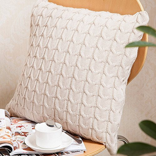 Knitted Throw Pillow Cover - Beige from ObJae