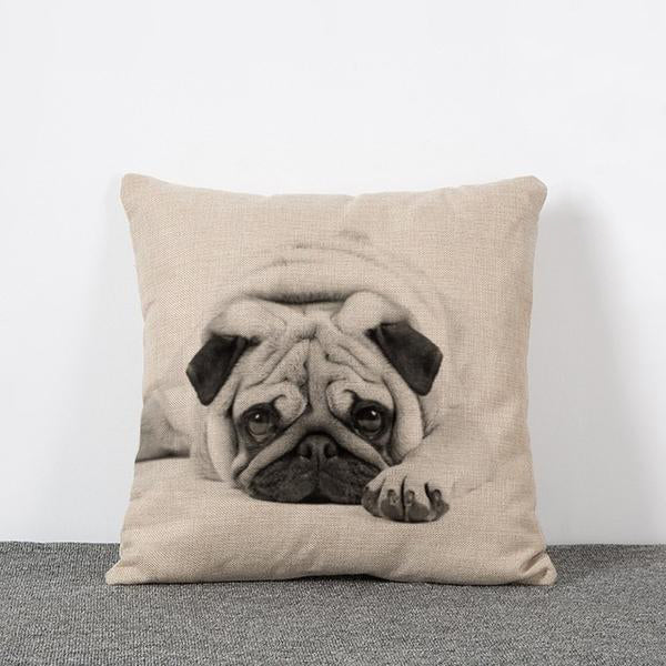 Adorable Pug Pillow Cover