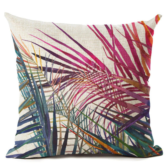 Blades Tropical Leaves Pillow Cover - Green to Pink from ObJae