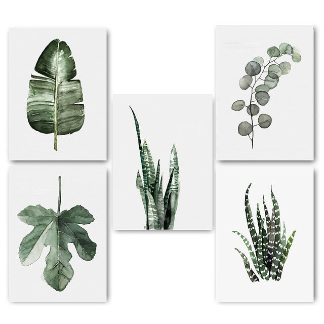 Tiptoe Watercolor Leaves Canvas Prints (Set of 5) from ObJae