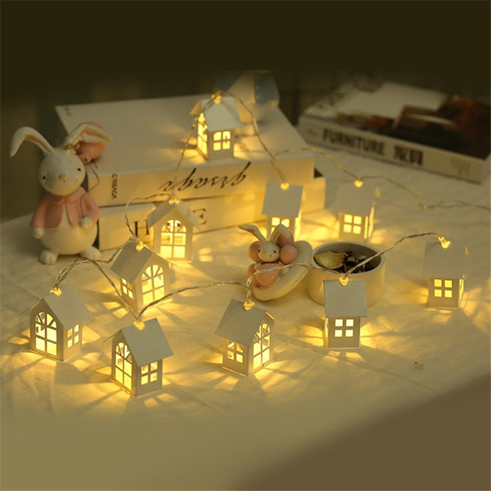 1.5M 10pcs LED Christmas Tree House Style Fairy Light Led String wedding natal Garland New Year christmas decorations for home from ObJae
