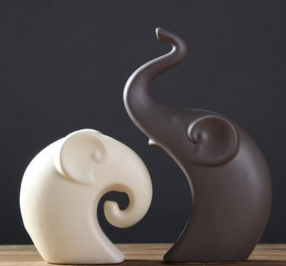 Endearing Ceramic Elephant Figurines (Set of 2)