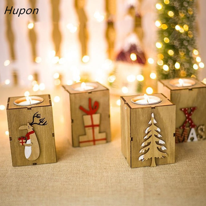 Navidad 2018 Wood Candle Holders Tealight Candlesticks Lantern Vintage Christmas Decorations for Home New Year Party Decor Gifts from ObJae