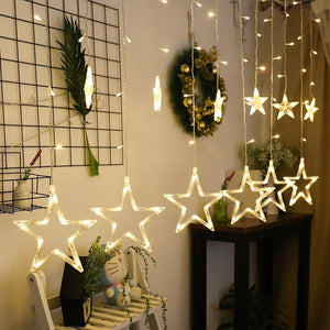 2.5M Christmas LED Lights AC 220V Romantic Fairy Star LED Curtain String Lighting For Holiday Wedding Garland Party Decoration from ObJae