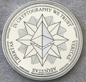 Laser Engraved Silver Physical Ethereum Wallet