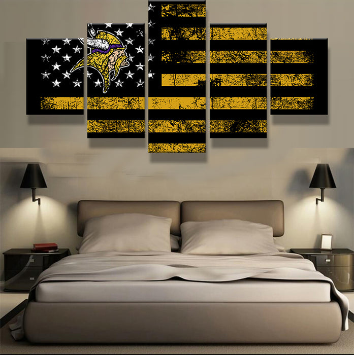 5 Panel Minnesota Vikings Sport Flag Logo Fans Oil Painting On Canvas Modern Home Pictures Prints Living Room Deco Fans Posters
