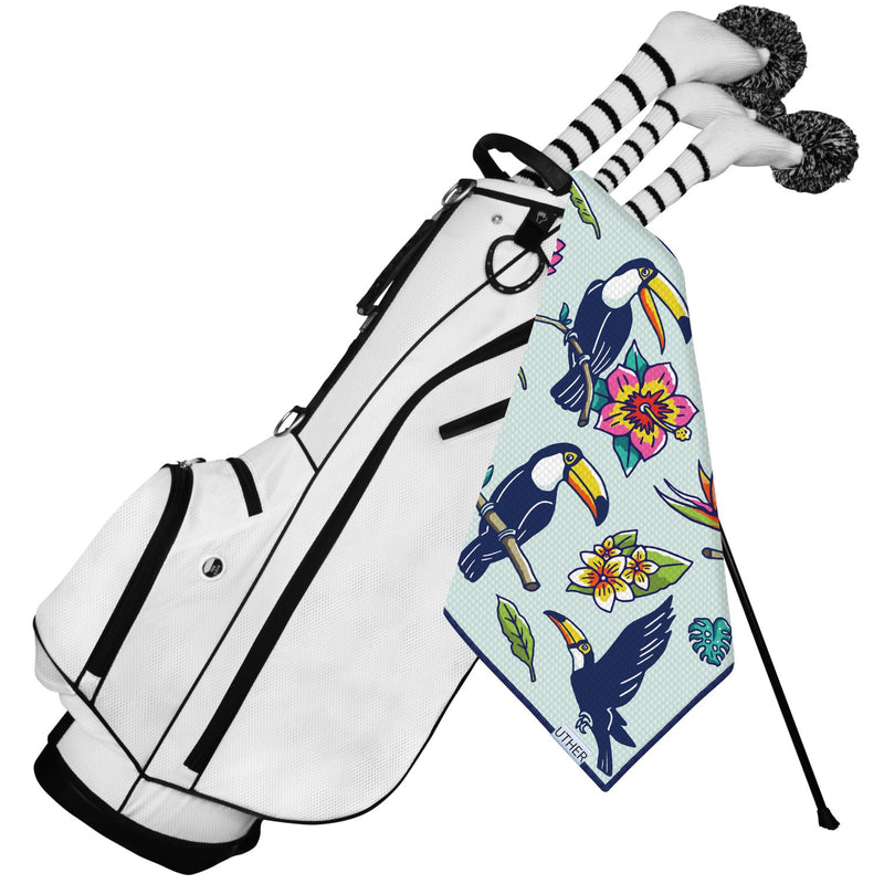 Fashionable Waffle Texture Microfiber Golf Towel complete with clip. The toucan and light tropical theme adds color and flair to your golf bag!