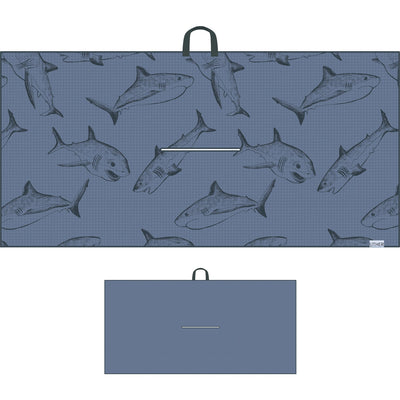 Fashionable Waffle Texture Microfiber Golf Towel complete with clip. The dark background with the sharks swimming around will let you be a shark on the golf course!