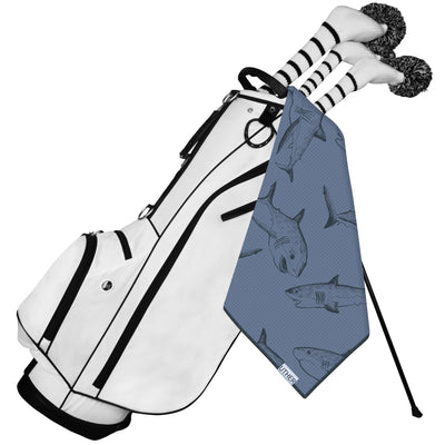 Fashionable Waffle Texture Microfiber Golf Towel complete with clip. The fun shark pattern will let you show off your golf bag's style on the golf course!