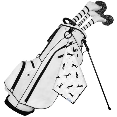 Fashionable Waffle Texture Microfiber Golf Towel complete with clip. This light background will add some flair to your game and will hopefully be capturing your celebrations on the golf course right on your golf bag!