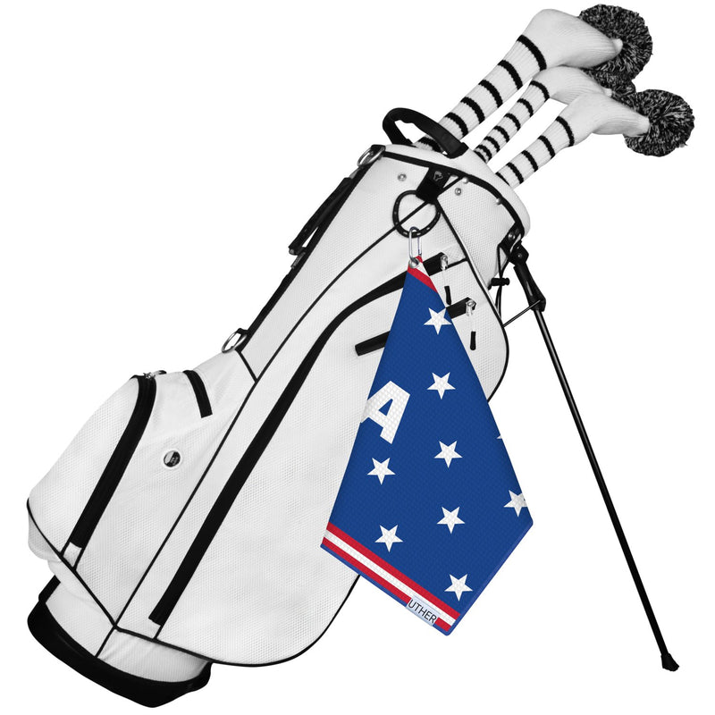 Represent the stars and stripes with this beautiful American themed golf towel! The blue background and white pattern will showcase your style on the course!