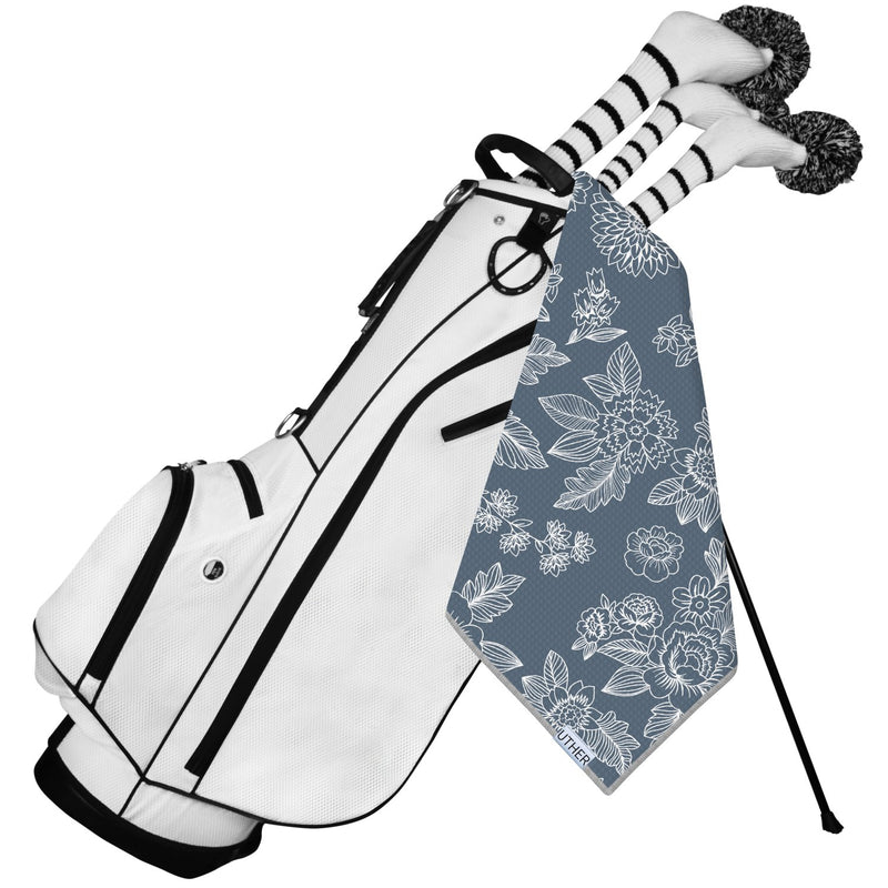 Fashionable Waffle Texture Microfiber Golf Towel complete with clip. Classy and simple golf bag towel. Classic golf accessory.