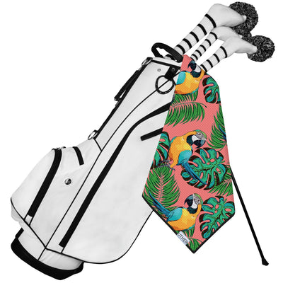 Fashionable Waffle Texture Golf Towel complete with clip. Tropical golf bag accessory.