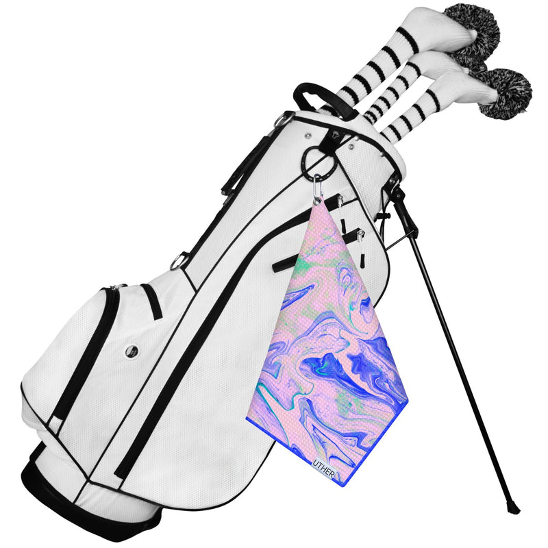 Fashionable Waffle Texture Microfiber Golf Towel complete with clip. Groovy golf accessory for your game!