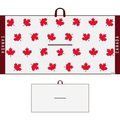 Fashionable Waffle Texture Microfiber Golf Towel complete with clip. Rep the maple leaf proud with this Canadian golf towel!