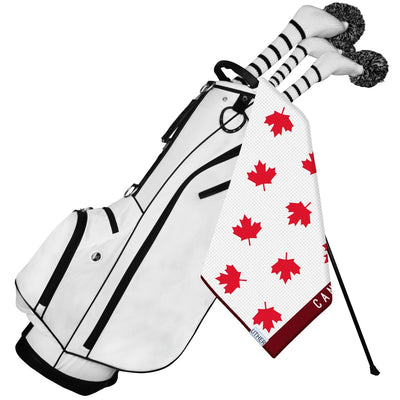 Fashionable Waffle Texture Microfiber Golf Towel complete with clip. Let the Maple Leaf hang proudly from your golf bag with the Oh Canada Tour towel!