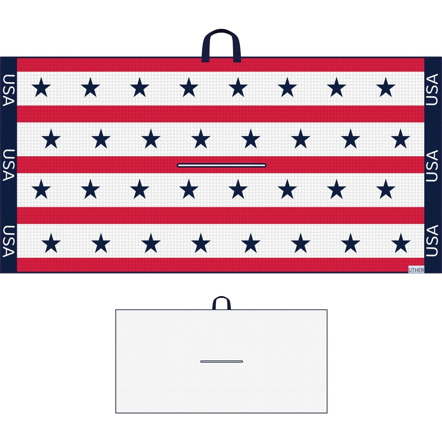 Fashionable Waffle Texture Microfiber Golf Towel complete with clip. Showcasing the stars and stripes! This timeless look can be conveniently attached to your golf bag! Repping your country for all 18 holes!
