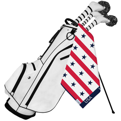 Fashionable Waffle Texture Microfiber Golf Towel complete with clip. The American themed design also works perfectly with any bag and is a great golf accessory to add to your game!