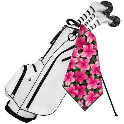 Fashionable Waffle Texture Golf Towel complete with clip. Floral golf bag accessory.