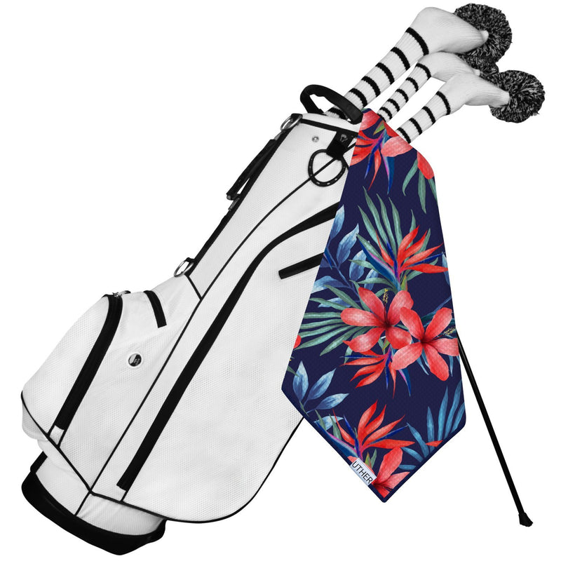 Fashionable Waffle Texture Microfiber Golf Towel complete with clip. This floral pattern will surely add drip to your golf bag!