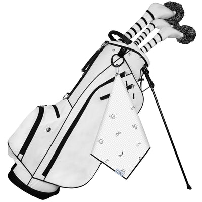 Fashionable Waffle Texture Microfiber Golf Towel complete with clip. The white background and black figurines add a clean and elegant look to your golf game!