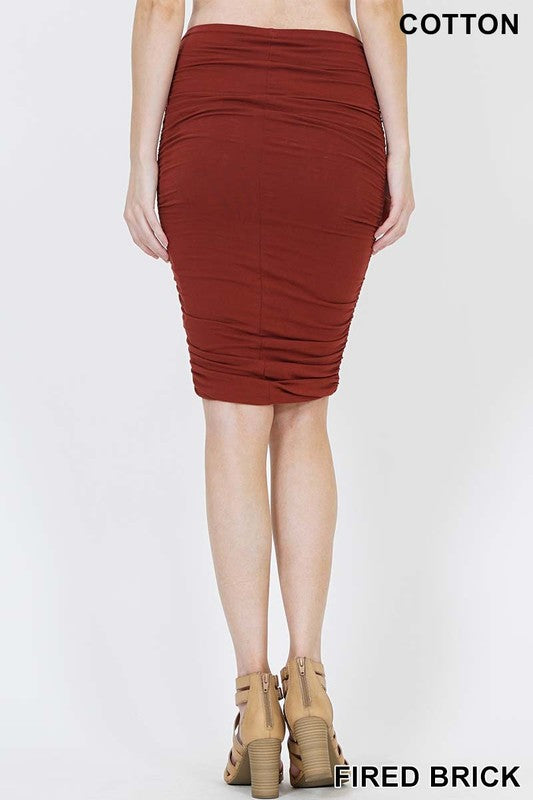 Red Brick Shirred Pencil Skirt