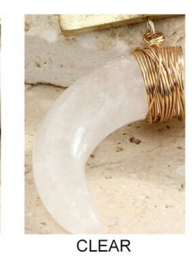 Natural Stone and Horn Pendant