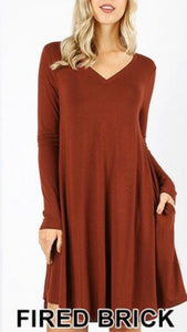 Red Brick Long Sleeve Knee Length Dress
