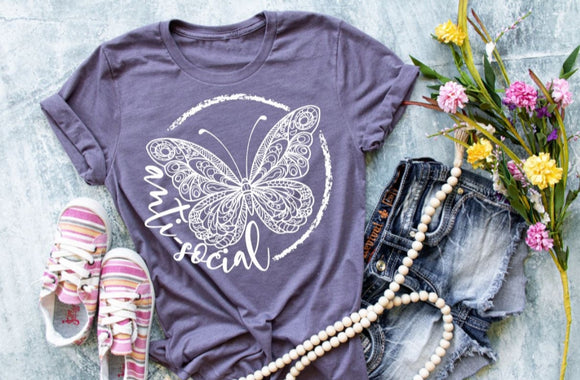 Anti Social Butterfly Adult Tee or Tank