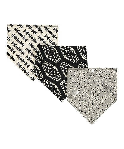 Set of 3 Bandana Bibs- 100% Unbleached Cotton