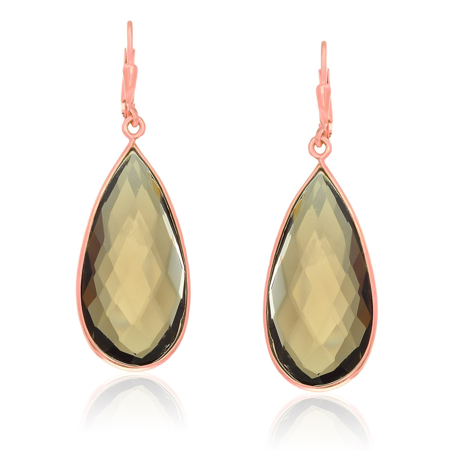 Unique Modern Paris Style Sterling Silver Rose Gold Plated Teardrop Smokey Quartz Earrings
