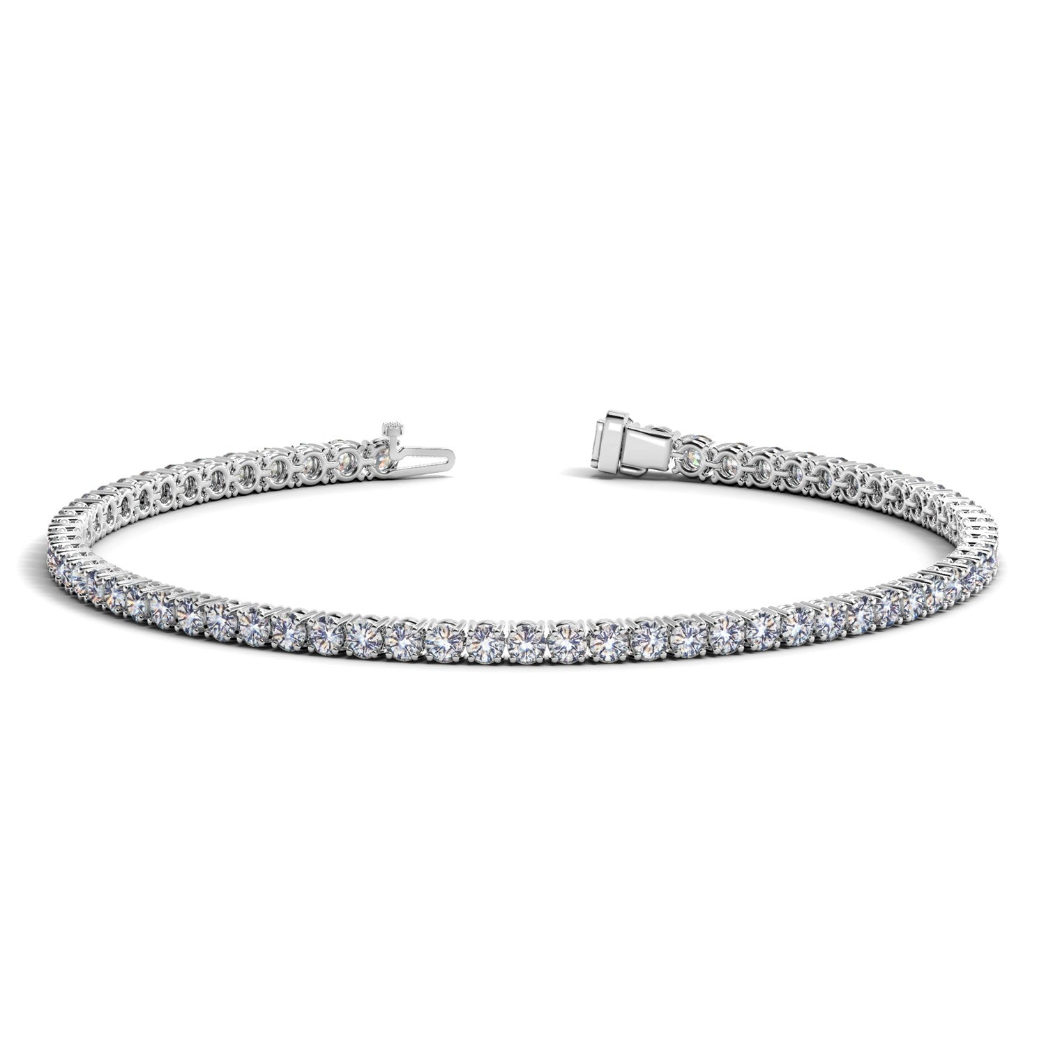 Unique Modern Monaco Style 14K White Gold Round Diamond Tennis Bracelet (3 ct. tw.)