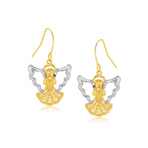 Original New York Style  Two-Tone Angel Drop Earrings in 10K Gold
