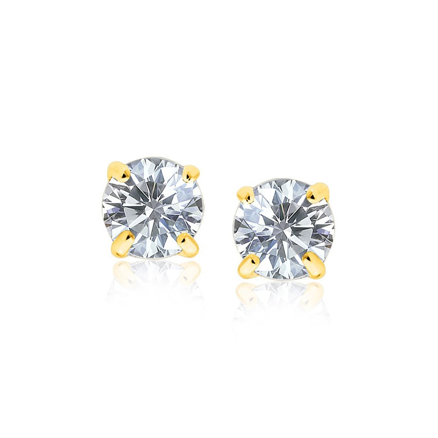 Original New York Style  14K Yellow Gold 8.0mm Round CZ Stud Earrings
