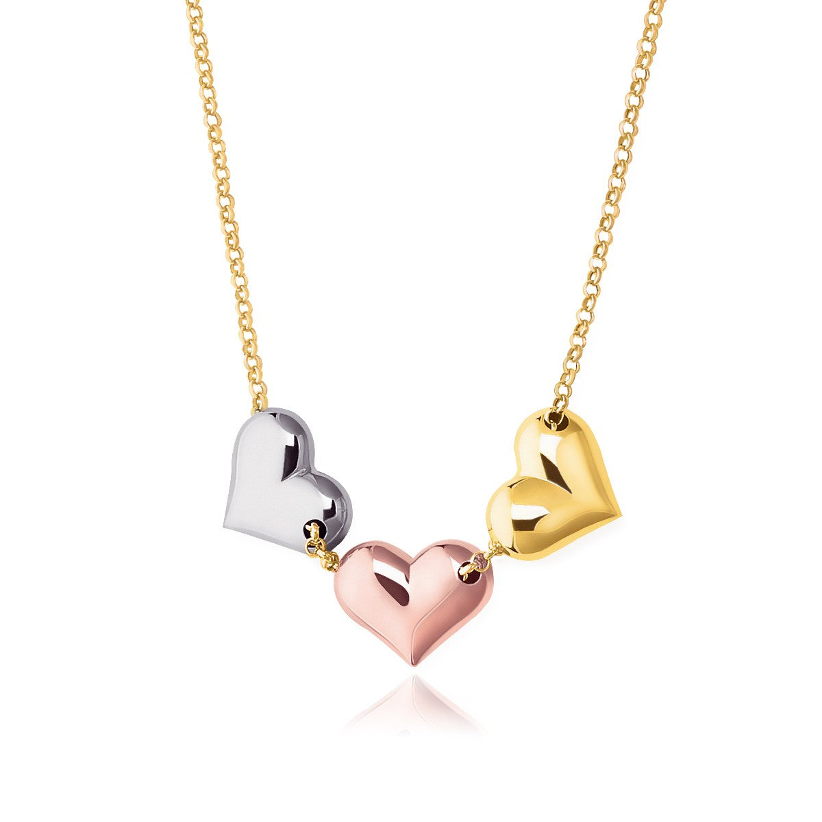 Unique Hollywood Style 14K Tri-Color Gold Triple Heart Necklace
