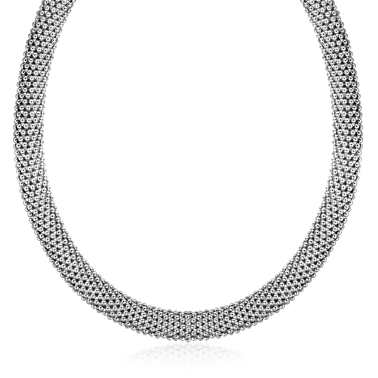 Unique Hollywood Style Sterling Silver Rhodium Plated Rounded Design Mesh Necklace