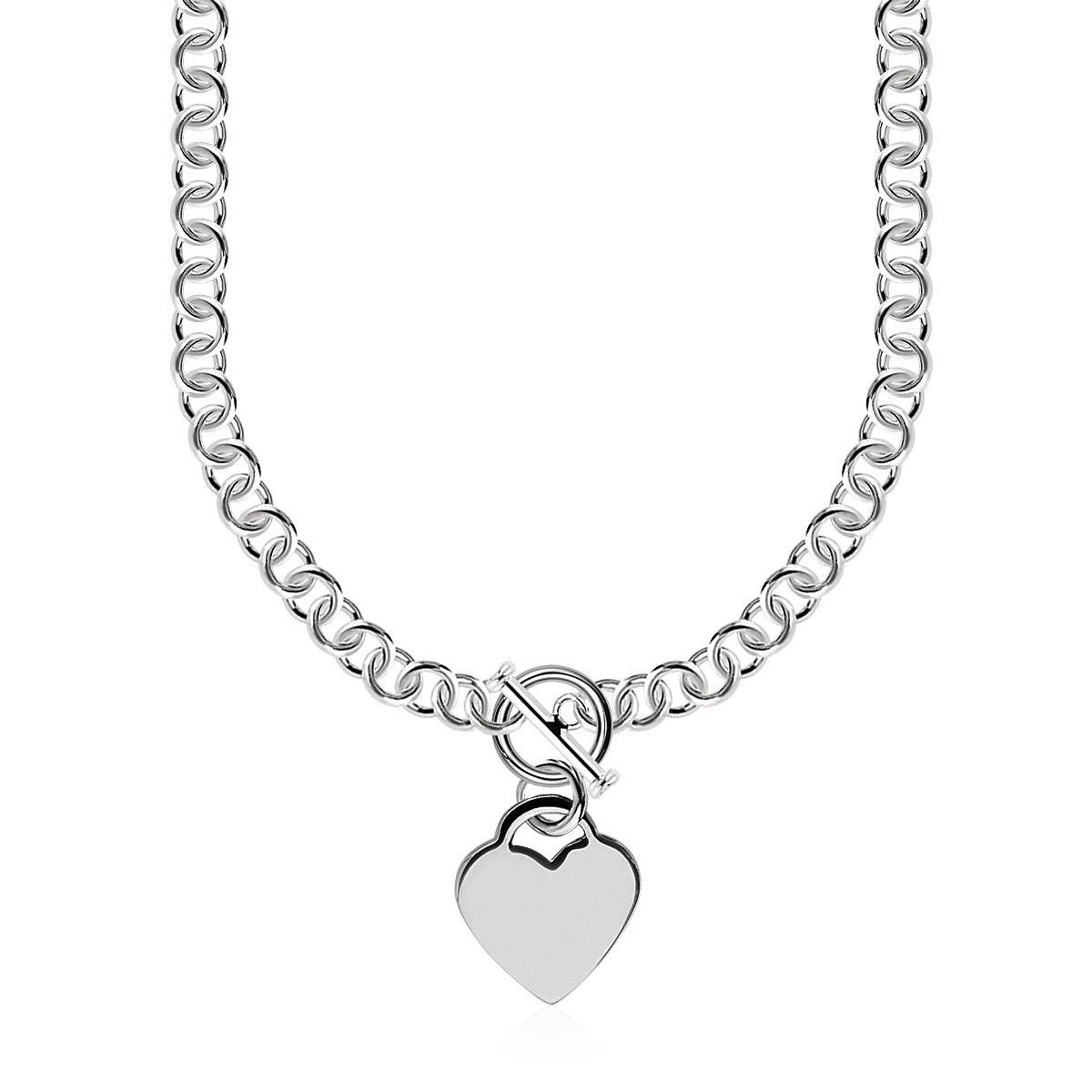 Sterling Silver Rolo Chain  with a Heart Toggle Charm and Rhodium Plating