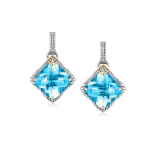 Unique Modern Paris Style 18K Yellow Gold and Sterling Silver Cushion Blue Topaz and Diamond Drop Earrings