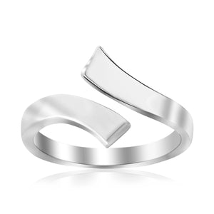 Sterling Silver Rhodium Plated Overlap Style Polished Toe Ring - Uniquepedia.com