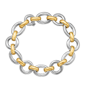 Unique Modern Monaco Style 18K Yellow Gold and Sterling Silver Diamond Cut Rhodium Plated Bracelet