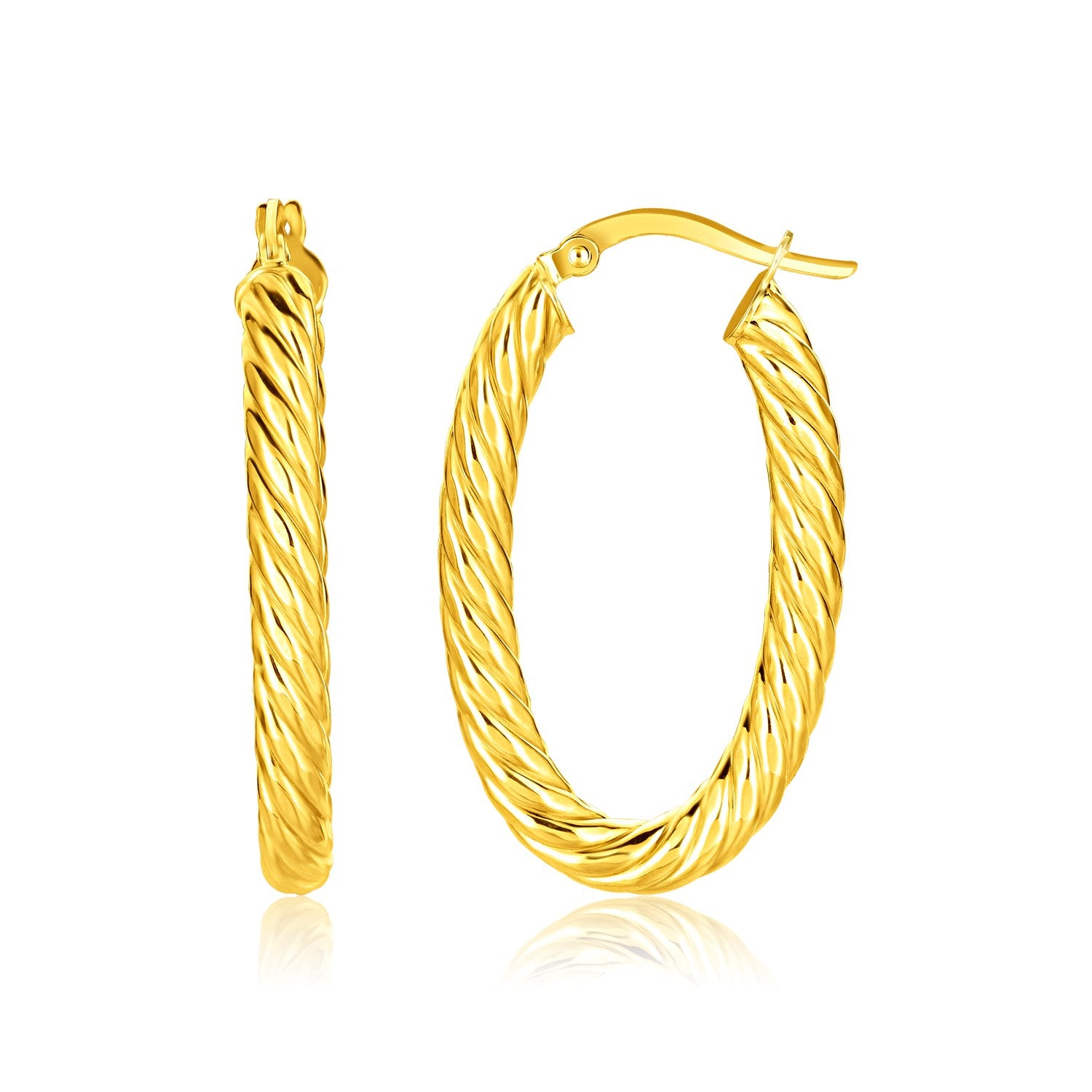 14K Yellow Gold Twisted Cable Oval Hoop Earrings